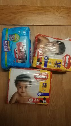 Huggies snug dry size 1 2 3 diapers pull-ups for Sale in Brookhaven,  PA