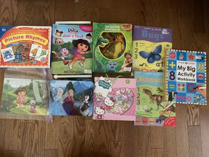 Lot of Kids puzzles, rhyme game, play storybooks with mats and erasable books for Sale in San Jose, CA