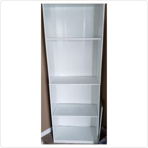 White Tall 5 Five Shelf Bookshelf Bookcase Adjustable for Sale in Canal Winchester, OH