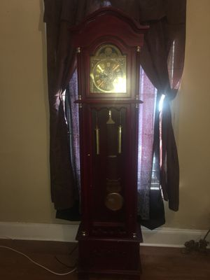 GRANDFATHER CLOCK RAN BY BATTERIES WHEN YOU BUY THIS I WILL ALSO SHOW YOU LIFE ENHANCING THINGS ASSOCIATED WITH THIS ANTIQUE GRANDFATHER CLOCK THANK for Sale in Cherry Hill, NJ