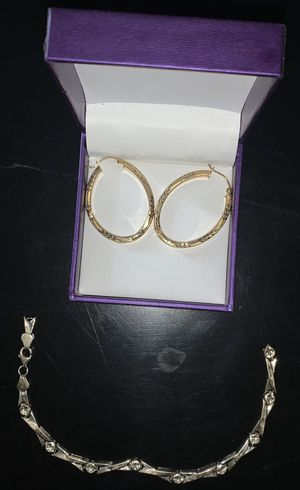 Gold earings & whitegold women bracelet for Sale in Norwalk, CA