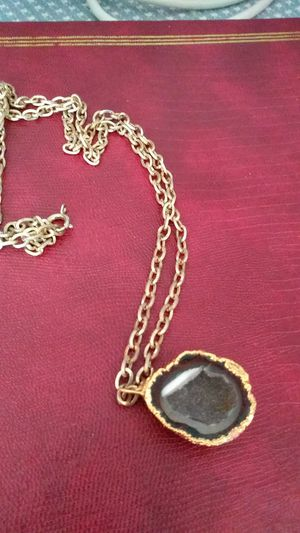 Geode pendant encased in gold plated silver for Sale in San Diego, CA