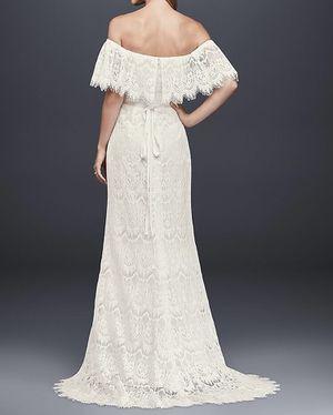 Ivory off-the-shoulder eyelash lace sheath wedding dress. Size 12. Simple veil and embellished belt included. for Sale in Nashville, TN
