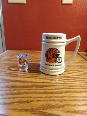 Bengals 1988-89 Super Bowl Coffee Mug and Shot Glass for Sale in Cincinnati, OH