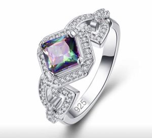 Elegant Party Jewelry Princess Cut Rainbow Topaz Fashion 925 Sterling Silver Ring Size 7&8 for Sale in Moreno Valley, CA