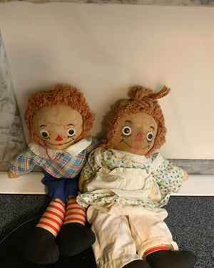 Raggedy Ann And Andy Rag dolls , Circa 1940 Johnny Gruelles, Georgene Novelties , NY NY ;(15 Inch) for Sale in Littleton, MA