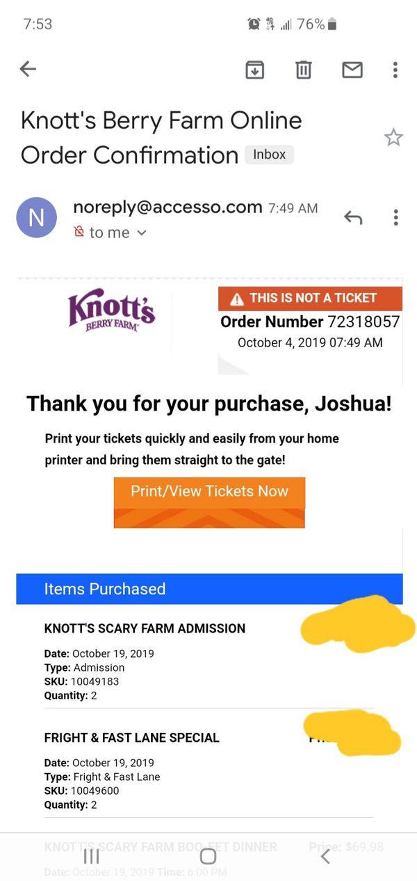 Knotts scary farm tickets