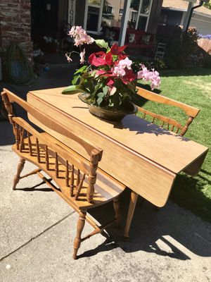Antique mid century modern dropleaf table with two bench seats for Sale in San Carlos, CA