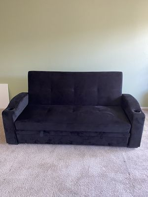 Lexi Black Velvet Fabric Sofa Bed/Futon Couch for Sale in Lakewood, CA