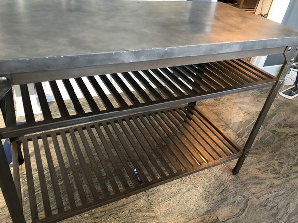 "Industrial Style Concrete Kitchen Island/Prep Station. Two shelf's for storage. 36""H x24.5""W x 52""L. Bought brand new on way fair and slight used."