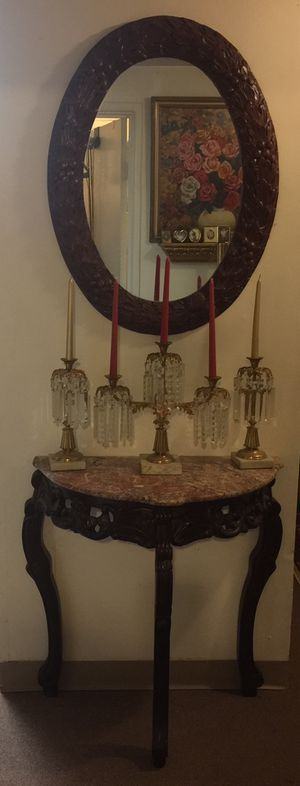 Beautiful antique candelabra set Crystal marble Metal only the candelabras set The Candle not included $175 Gold color for Sale in Pawtucket, RI