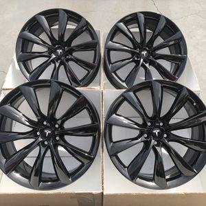 "22"" oem Tesla Model X factory wheels 22 inch gloss black rims Tesla x for Sale in Santa Ana, CA"