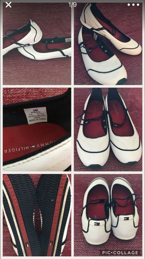 Tommy Hilfiger White Logo Elastic Strap Sporty Flats With Rugged Bottom women's Size 9 for Sale in Alexandria, VA