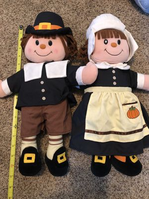 Thanksgiving fall pilgrim plush dolls 16 inches for Sale in Santee, CA
