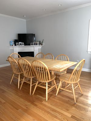 Extendable Dining Table with leaf & 8 Dining Chairs for Sale in Boston, MA