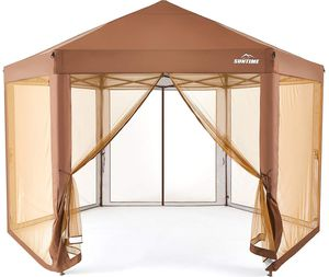 🍀 BRAND NEW SUNTIME Outdoor Patio Hexagon Gazebo, Pop Up Instant Canopy, Garden Backyard Party Tent with Sidewalls(6.6' x 9.2'), Coffee Brown for Sale in Los Angeles, CA