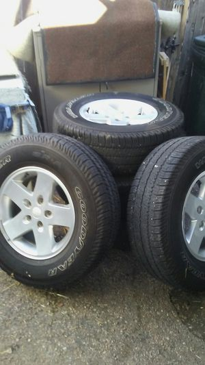 5 Tires and Wheels from a late model Jeep Wrangler 17 in all five are in good shape one has never been on the ground for Sale in Westminster, CO