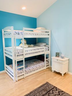 Triple bunk beds, white, with mattresses (separate in 3 single beds) for Sale in Blawnox,  PA