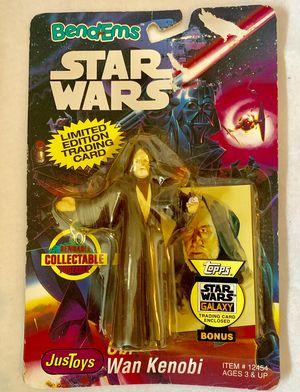 Star Wars Bend-Ems Obi Wan Kenobi Action Figure 1993 W/ Bonus Trading Card for Sale in Keizer, OR