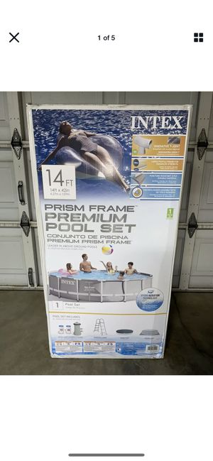 Intex 14 Foot ft x 42 inch Prism Frame Above Ground Swimming Summer Waves Pool Set With Filter Pump for Sale in Arlington, TX