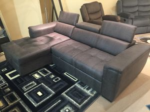 Air Leather Sectional Sofa with Pull Out Bed, Grey for Sale in Downey, CA