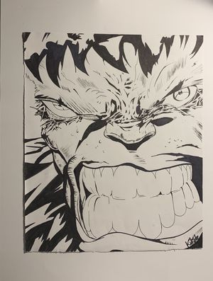 Incredible Hulk Ink Drawing for Sale in San Antonio, TX