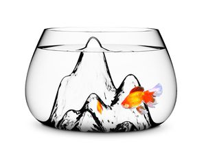 Modern fish bowl with mountain scape for Sale in Greenwich, CT