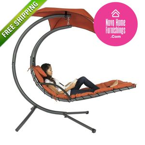 Orange/Red Single Person Sturdy Modern Chaise Lounger Hammock Chair Porch Swing for Sale in San Gabriel, CA