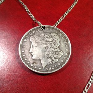 """1921. MORGAN WITH A HOLE DRILLED TO CREATE A NECKLACE 🤔. W SILVER FIGARO """"28 for Sale in Houston, TX"""