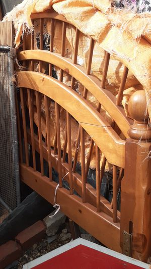 Wooden bed frame with tails for Sale in San Bernardino, CA