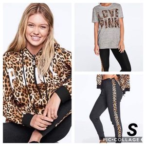 NWT VS PINK Leopard Hoodie, Tee and Joggers 3pc Set (Small) for Sale in Aurora, OH