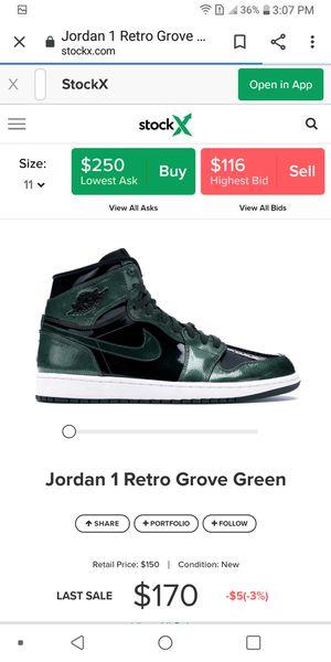 Nike jordans retro 1 grove green for Sale in Three Rivers, MI