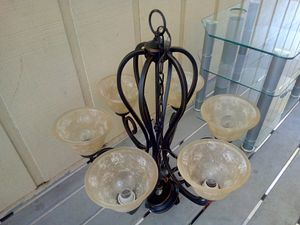 Frosted glass light fixture - home - light - decor - bronze - for Sale in Naples, FL