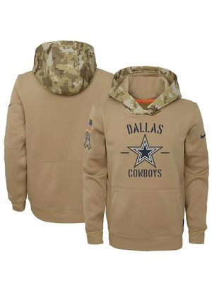 NWT XL DALLAS COWBOYS NFL NIKE SALUTE TO SERVICE ON FIELD THERMA PULLOVER HOODIE BEIGE for Sale in Mesquite, TX