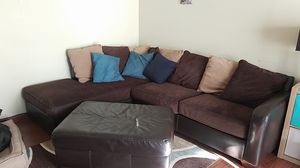 L-shaped couch and ottoman for Sale in Erda, UT