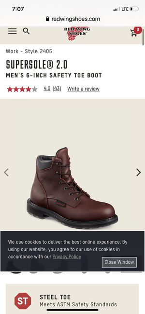 SIZE 10.5. RED WING SUPER SOLE 2.0 6 INCHES TALL WATERPROOF SAFETY BOOTS BRAND NEW for Sale in Vallejo, CA