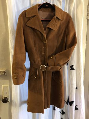 Vintage 1960's beige tan light brown camel suede leather attached belt needs 4 buttons no tag women's medium for Sale in Portland, OR