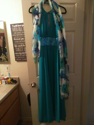 Beautiful long turquoise formal gown with pretty matching formal shawl for Sale in Las Vegas, NV