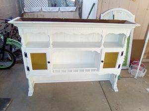 White, wood farmhouse china cabinet or buffet table top $25 ***Top only*** H: 44in W: 62in D: 18in No holds 75th Ave Peoria for Sale in Peoria, AZ