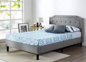 New King size Upholstered platform bed frame with headboard for Sale in Columbus, OH
