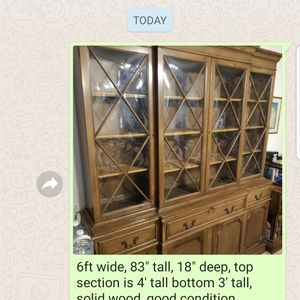 Free, Break Front, Curio, China Cabinet, Solid Wood, Good Condition. for Sale in Miami, FL