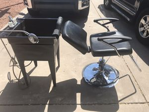 Salon chair and shampoo bowl for Sale in Tempe, AZ
