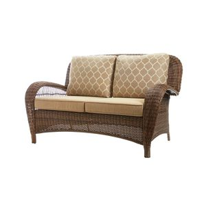 New Hampton Bay Beacon Park Brown Wicker Outdoor Patio Loveseat with Standard Toffee Cushions ☆Pick up only☆ for Sale in Phoenix, AZ