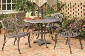 New!! 5 piece Outdoor Dining set, bronze, outdoor dining table and chairs, patio dining set, patio furniture, outdoor table with umbrella for Sale in Phoenix, AZ