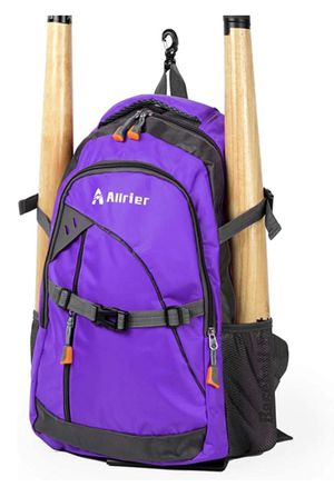 Baseball Bag with Fence Hook, Ball Softball Equipment Gear Holds 2 Bat Helmet Batting Glove Cleats Water Bottles and Kids Youth and Adults (purple) for Sale in Etiwanda, CA