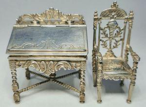 Antique 19th Century Dutch Silver Dollhouse Secretary Desk and Armchair for Sale in Covina, CA