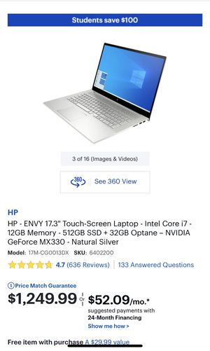 "HP Envy 17.3"" Touch Screen Laptop for Sale in Buena Park, CA"