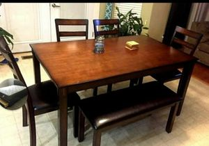 """solid wood dining table set new in factory packaging we can deliver for extra 60x36x30"""" for Sale in Corona, CA"""