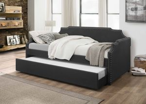 Fabric Twin Daybed with Trundle, Dark Grey for Sale in Downey, CA