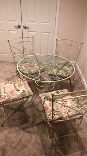 Pier One shabby chic wrought iron table and chairs for Sale in Clifton, VA